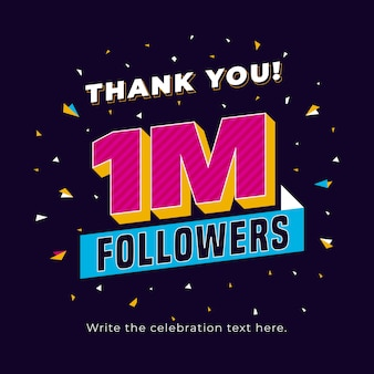 One million followers social media post background template