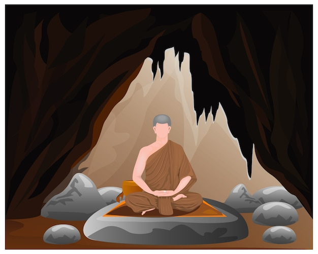 One monk meditation in cave
