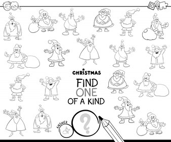 One of a Kind Educational Game with Santa Color Book