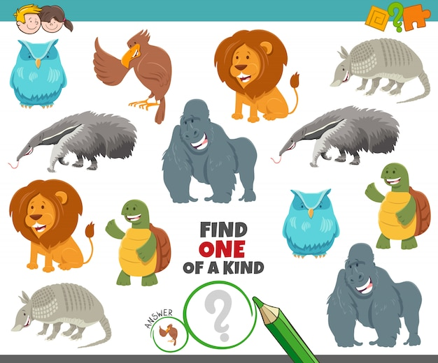 漫画の動物を持つ子供のための親切なゲームの1つ