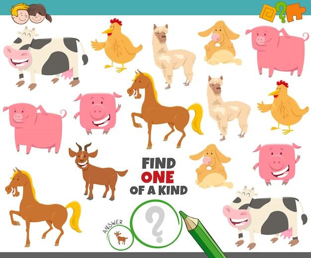 農場の動物を持つ子供のための親切なゲームの1つ
