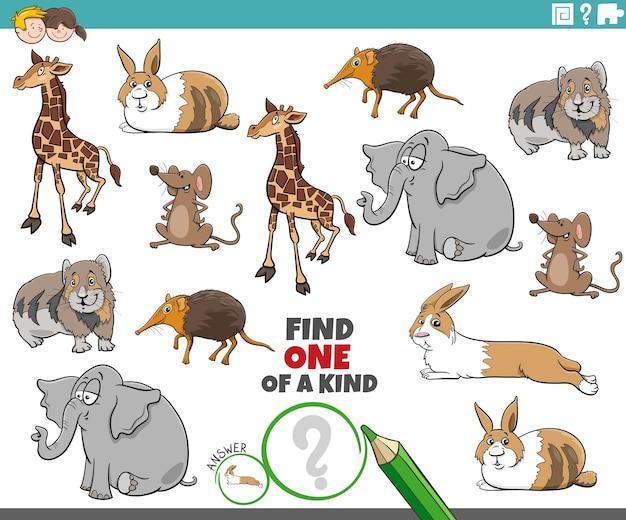 만화 동물 캐릭터와 함께 한 종류의 그림 작업 중 하나