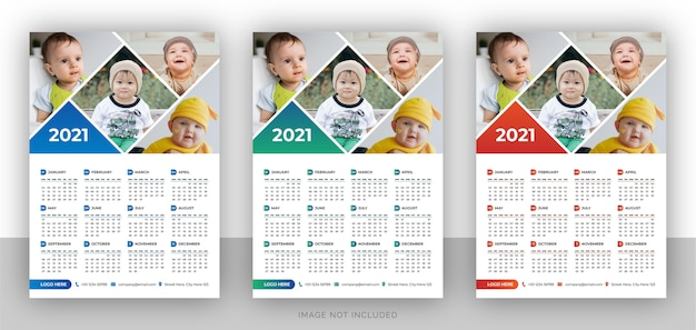 One page colorful photography wall calendar design template for new year