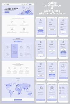 Набор каркасов одностраничного веб-сайта и мобильных приложений