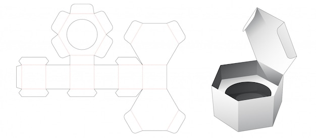 One piece cardboard hexagonal packaging box with insert die cut template