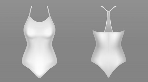 One piece woman swimsuit front and back view