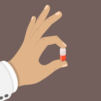 One pill in a hand flat isometric concept.