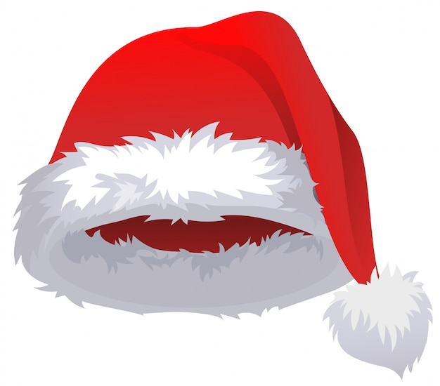 One red cartoon fur santa hat isolated on white.