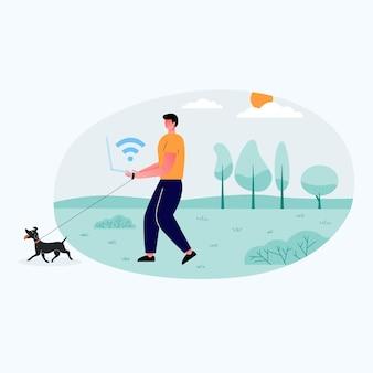 リラックスした男の子がラップトップを持ってオープンフィールドに立っています。彼と一緒にヤギを飼っている。見ているのはノートパソコンの画面です。フラットフラットイラスト。