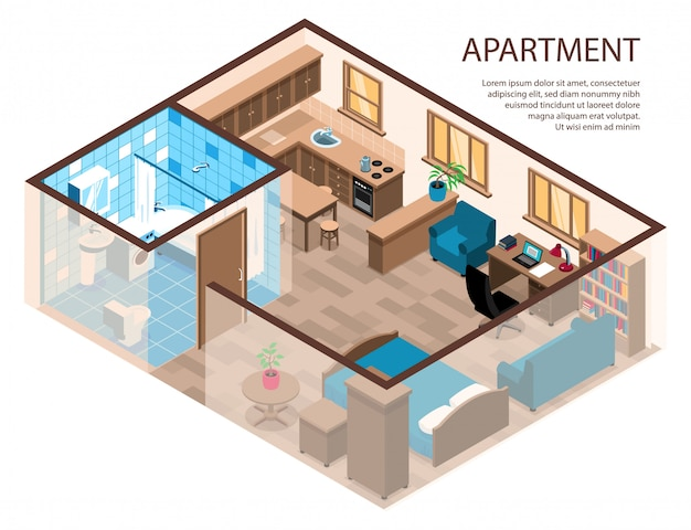 One room apartment efficient design isometric composition with bed corner study area furniture kitchen bathroom