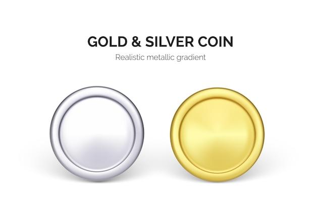Одна серебряная и золотая монета доллар. бизнес и финансы иллюстрации. вектор