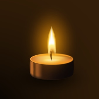 One small burning candle tealamp isolated on dark background. memorial flame realistic 3d illustration