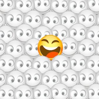 多くの笑顔の中の1つのスマイリー。