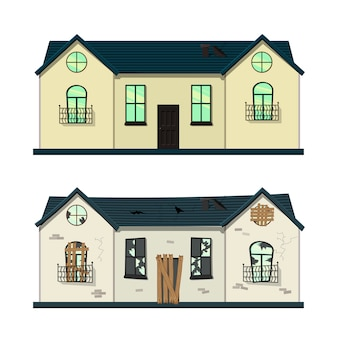 One-storey house before and after repair. cartoon style.