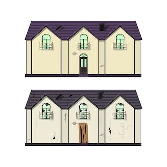 修理前後の平屋建て。漫画のスタイル。図。
