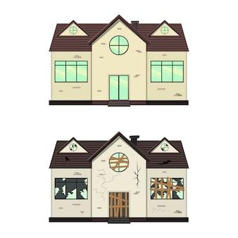 수리 전후의 단층 주택. 만화 스타일. 삽화.