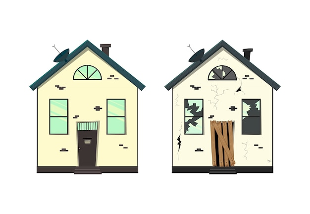 수리 전후의 단층 주택
