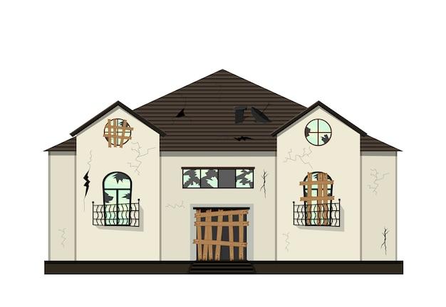 리노베이션 전의 1 층짜리 낡은 집. 만화 스타일. 삽화.