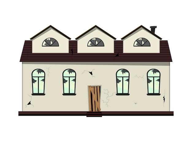 リノベーション前の平屋建ての老朽化した家。漫画のスタイル。ベクトルイラスト。