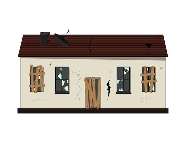 리노베이션 전의 1 층짜리 낡은 집. 만화 스타일.