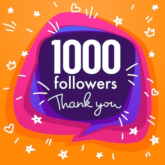 One thousand followers , thank you banner, stars, confetti and lettering composition