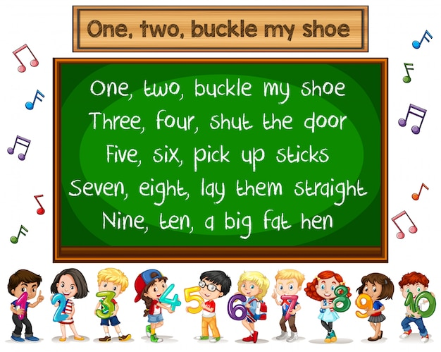One two buckle my shoe song blackboard concept