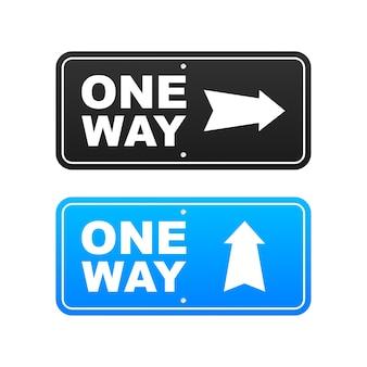 One way. black icon on white backdrop