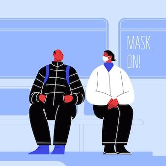 하나는 마스크를 쓰고 다른 하나는 얼굴을 가리지 않습니다. 자동차 창문의 글자 마스크 온