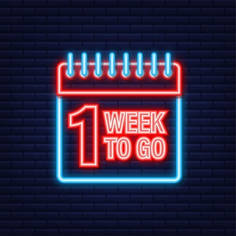 One week to go offer. calendar icon. neon icon. vector stock illustration.