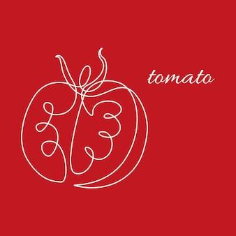赤い背景にトマトを描く1つの白い実線。野菜の庭のアイコンの新鮮なスライスの健康的な有機野菜の概念。ロゴのモダンなミニマルなグラフィックデザインのベクトル図