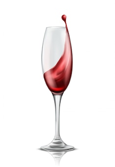 One wine glass with splash of red wine, 3d realistic illustration