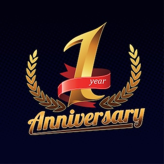 赤いリボンと1年の記念日の金色のロゴ