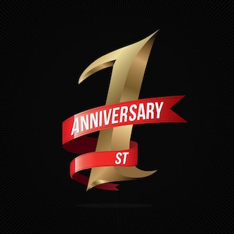 One year anniversary golden logo with red ribbon