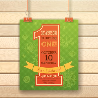 One year birthday invitation card on wood background