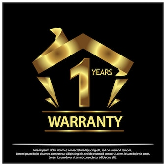 One year warranty golden label on black background