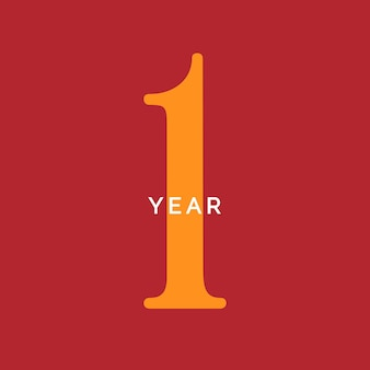 1年シンボル1歳の誕生日エンブレム記念日サイン番号ロゴコンセプトヴィンテージポスターテンプレート