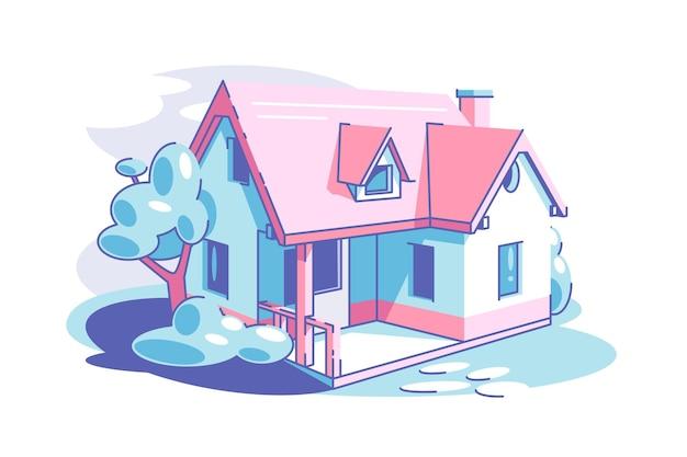 家族の生活の田園地帯と分離されたプロパティの概念のための領域フラットスタイルの建物と1階建ての民家ベクトルイラストコテージハウス