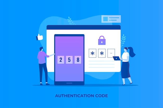 Onetime password illustration concept for websites landing pages