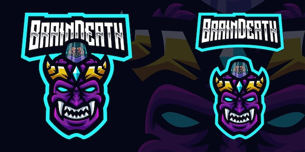 Oni brain death mascot gaming logo template for esports streamer facebook youtube