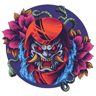 Oni daruma mascot logo