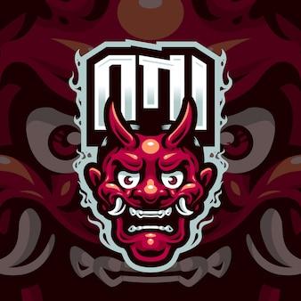 Логотип талисмана oni head для команды по киберспорту и спорту