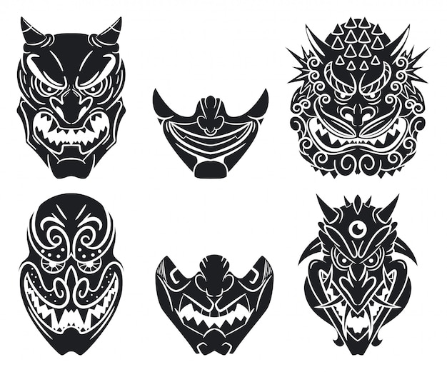 Oni and kabuki traditional japanese masks with demon face. cartoon set isolated on a white