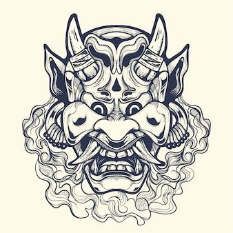 오니 라인 잉킹 삽화 일러스트