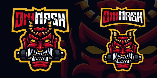 Oni mask biting paper roll gaming mascot logo template for esports streamer facebook youtube