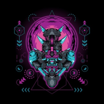 Oni mask demon robot sacred geometry