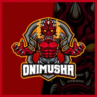 Oni mask face mascot esport logo design illustrations vector template, evil monster logo for team game streamer youtuber banner twitch discord, full color cartoon style