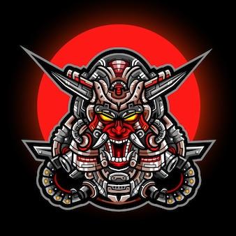 Oni mask mecha esport талисман дизайн логотипа
