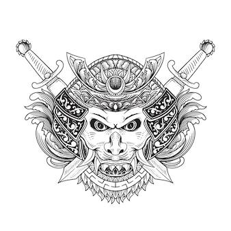 Oni mask sword ornament illustration