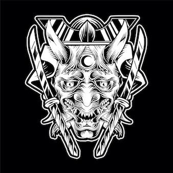 Oni mask tribal иллюстрация