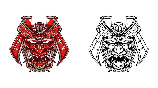 Oni mask with a choice of colors and line art
